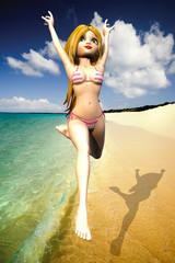 beach girl jumping on the beach