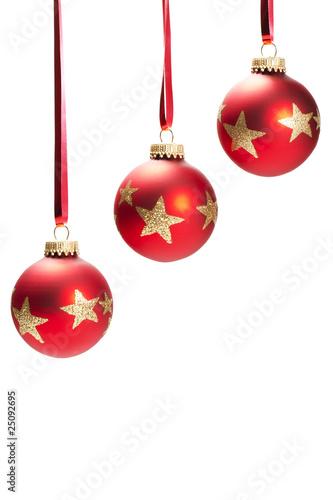 Rote Christbaumkugeln.Drei Hangende Rote Christbaumkugeln Mit Roten Glittersternen