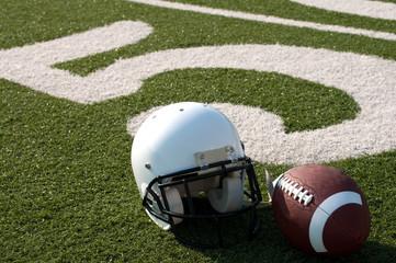 Wall Mural - American Football Equipment on Field