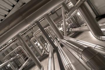 Industrial zone, Steel pipelines in sepia tones