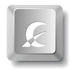 Abstract monetary sign. Vector computer key.