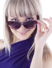 Fashion portrait of sexy, young, beautiful woman wearing sunglas
