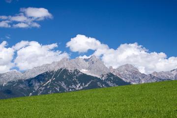 Alpen-Panorama - Wiesen-Berge-Blauer Himmel