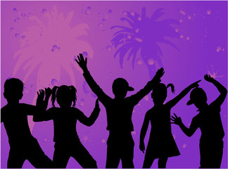 Silhouettes of children - purple background with palm