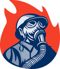 fireman fighter with gas mask retro style