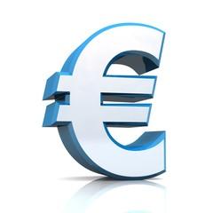 3D Euro symbol - Silber Blau / Chrom