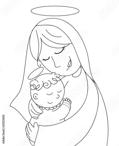 Madonna E Bambino Gesù Da Colorare Stockfotos Und Lizenzfreie