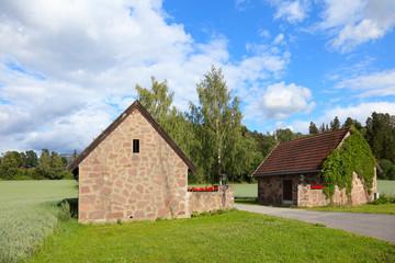 Old village houses in Norway, scandinavian Europe.