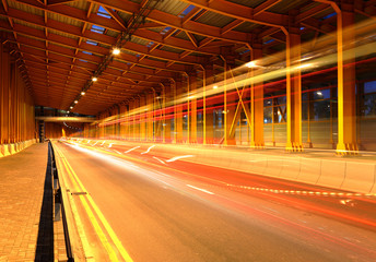 traffic in tunnel at night