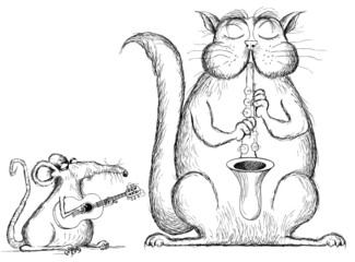 cat and rat playing music in cartoon style