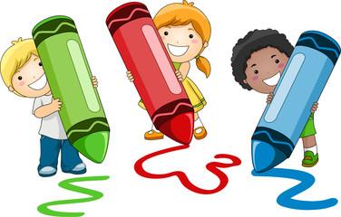 Children Using Crayon