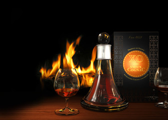 Cognac XO am Kaminfeuer