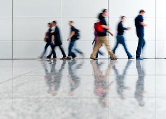 Trade fair walkway with blurred people