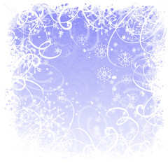 Background with snowflakes. window frosted