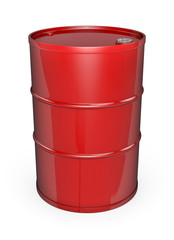 Red oil barrel. High quality 3D rendered image.