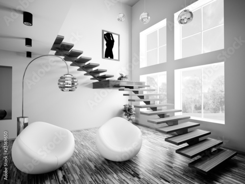 interior mit treppe schwarz weiss stockfotos und lizenzfreie bilder auf bild. Black Bedroom Furniture Sets. Home Design Ideas