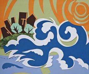 hurricane (paper collage)