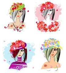 Recess Fitting Floral woman Flower hats