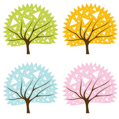 Colorful tree set vector background