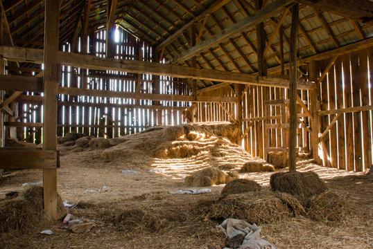 Old barn full of hay
