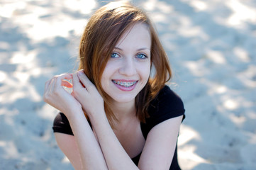 Beautiful girl with braces