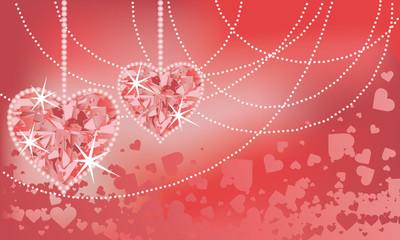 Wedding  card with precious hearts, vector