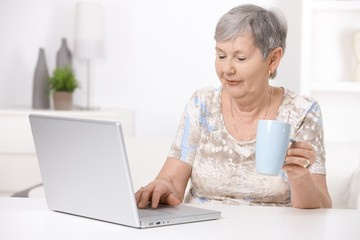Senior woman using laptop computer