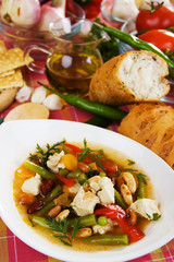Traditional chicken and vegetable soup