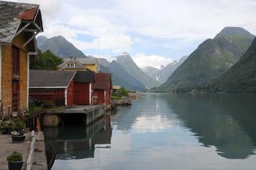 Village of Mundal on Fjaerlandsfjord, Norway