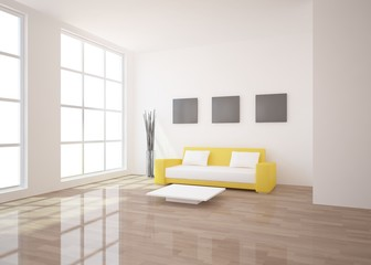 white interior composition