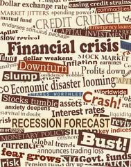 Fotobehang Kranten Financial crisis headlines