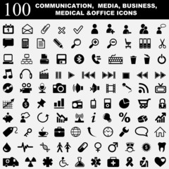 Hundred vector icons. Communication, media, medical and office.