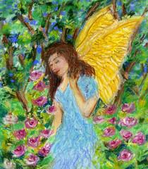 Angel walking in the garden.