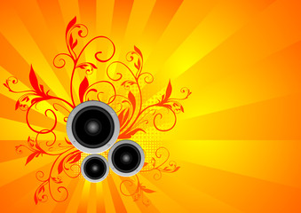 orange vector music illustration with speakers