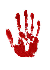 Blood red impression of a left hand