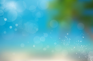 Blurred beach background with space for your message.