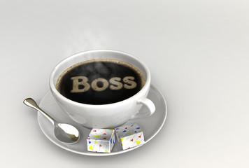Kaffee mit Boss-Symbol