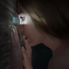 Spying woman