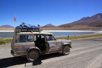 Car and lake