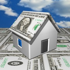 The small one-storeyed dollar house, 3d, a dollar background.