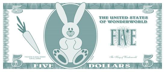Children game money - 5 dollars bill - front