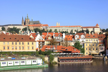 View on Prague summer gothic Castle above River Vltava