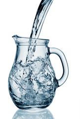 Flowing water in a jug