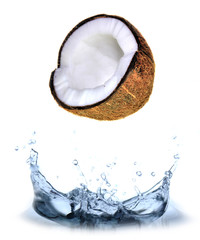 Wall Mural - Coconut dropped into the water