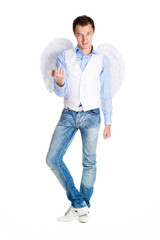 Man in the image of angel joking and posing