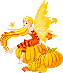 Autumn Fairy on the Pumpkin