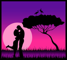 Vector silhouette of lovers on a background safari