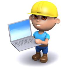 3d Builder studies the plans on his laptop
