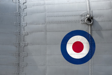 riveted panel on a vintage british military aircraft