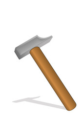 Vector illustration a hammer with the wooden handle